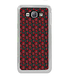 ifasho Animated Pattern small red rose flower with black background Back Case Cover for Samsung Galaxy J1 (2016 Edition)