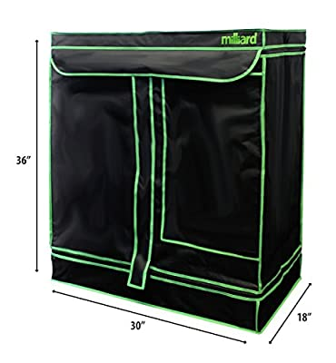 "MILLIARD 30"" x 18"" x 36"" 100% Reflective Mylar Hydroponic Grow Tent with Window, Great for Indoor Planting and Early Seedling Starters"