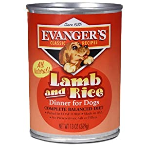 EVANGER'S 776479 Natural Classic Lamb and Rice Dinner for Dogs 13-Ounce, Pack of 24