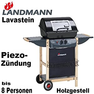 landmann lavastein piezo gasgrill sichtfenster und abklappbaren seitenablagen gasgrill edelstahl. Black Bedroom Furniture Sets. Home Design Ideas