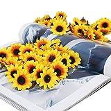 Pixnor 100x Artificial Gerbera Daisy Flowers Heads for DIY Wedding Party (Yellow Sunflower)