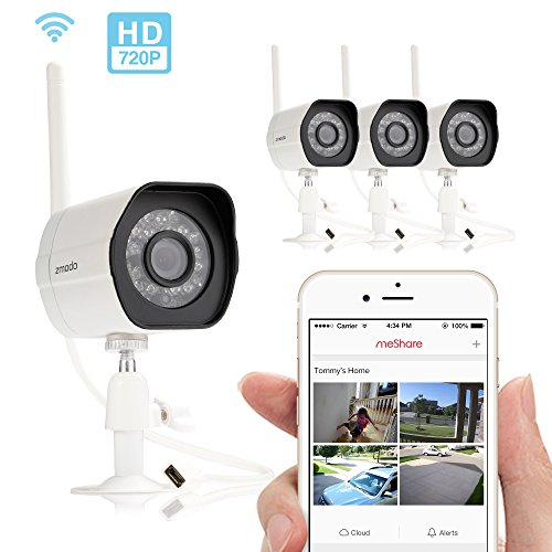 Zmodo Smart Wireless Security Cameras- 4 Pack- HD