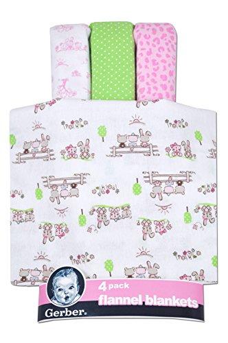 Gerber 4 Pack Flannel Receiving Blankets