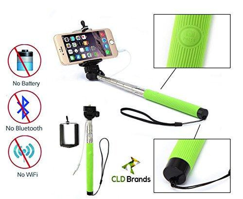 CLD Brands Best 2015 Adjustable Monopod - Built in Remote For Selfie Photos - Camera Stick - Includes Clamp Holder For iPhone and Smartphones - (LT Green)