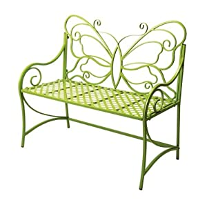 Outdoor Garden Bench with Butterfly Back in Citron Finish