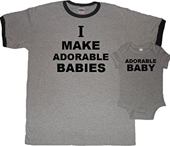 bc143af7 I Make Adorable Babies New Dad T-shirt and Matching Baby Bodysuit Set - First  Father's Day Gift; Funny Baby Shower Gift Idea (Dad Overviews.