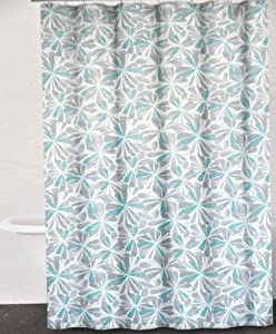DKNY Graphic Petals Cotton Fabric Shower Curtain Gray Grey Aqua