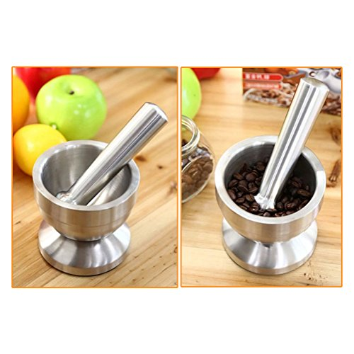 Awhao Stainless Steel Mortar and Pestle Set Spice Herb Seed Salt and Pepper Crusher Grinder Grinding Pedestal Bowl