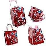 Set da viaggio per bambina, 5 pezzi: trolley, zaino, borsa ... Colore: rosa