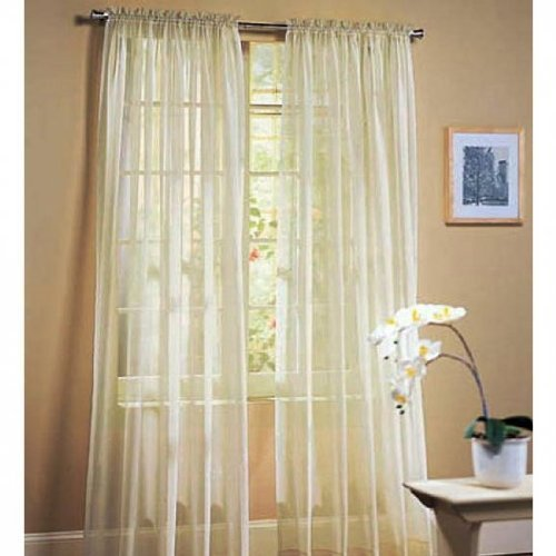 2 Piece Set 63″ Long Solid Sheer Curtains Panels Window