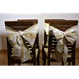 Burlap Chair Sashes with Lace Shabby Chic Rustic Wedding Bow Decor (Pack of 10) (Color: Jute, Tamaño: 260cm)