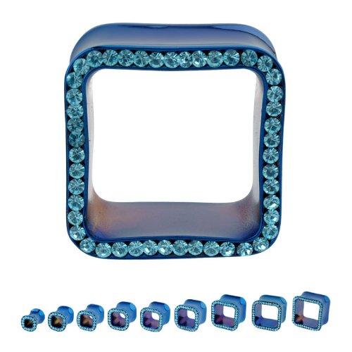 316L Surgical Steel Titanium Plated Square Aqua Multigem Plugs - 7/16