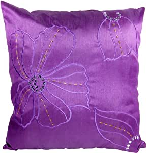 Amazon.com: Decorative Embroidery Purple Floral Throw Pillow Cover 18