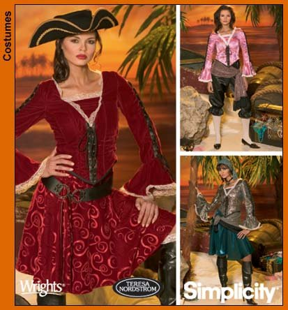 Simplicity 4914 sewing pattern makes Misses Pirate Costumes in sizes 6-8-10-12