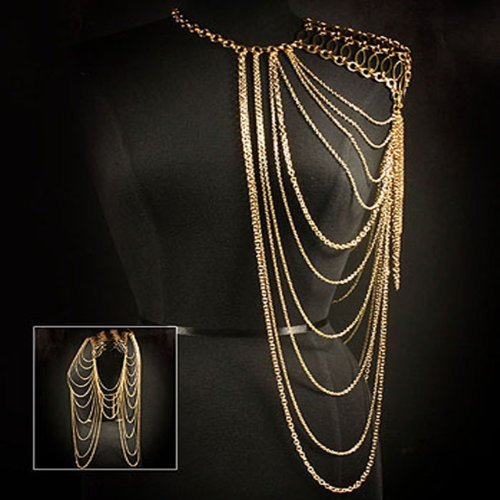 Celebrity Style Gold Body Chain Shoulder Statement Necklace