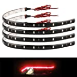 4x 30cm 15 Red LED Waterproof Flexibl...