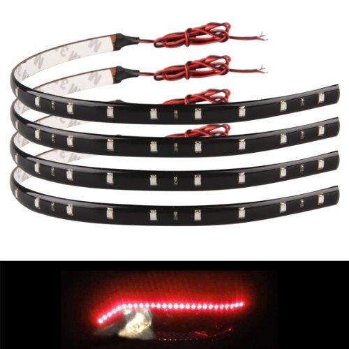 4x 30cm 15 Red LED Waterproof Flexible Car Grill Strip Light Lamp Bulb
