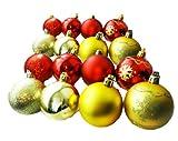 Cosjob 拘り装飾 ! クリスマスオーナメント 6cm 16個(2色X8個) AmanoSongオリジナル16個セット(A299) Xmas クリスマス オーナメントボール ツリー クリスマスツリー 装飾 飾り パーティー 忘年会 (ゴールド&レッド)