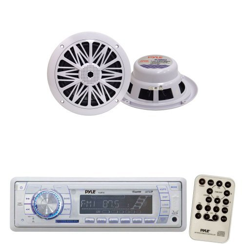 Pyle Marine Radio Receiver and Speaker Package - PLMR18 AM/FM-MPX PLL Tuning Radio w/SD/MMC Memory Card Slot & USB - PLMR62 200 Watt 6.5'' 2 Way White Marine Water Resistant Speakers