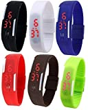 Pappi Boss Unisex Multicolor Set of 6 Digital Rubber Jelly Slim Silicone Sports Led Smart Band Watch for Boys, Girls, Men, Women, Kids - COMBO OFFER DEAL