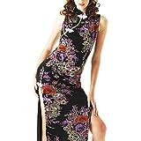 大胆な両サイドスリット綺麗な和柄チャイナドレス/黒x紫系/nc33 【Julius】