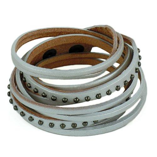 Original Tribe Moda Punk Rock Rivetti a più strati di cuoio degli uomini delle donne del braccialetto del braccialetto del polsino del Wristband Sl2446 (grigio argento)