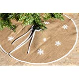 "Rustic Burlap Christmas Tree Skirt - 36"" Country Xmas Tree Decor Skirts w/ Snowflakes"