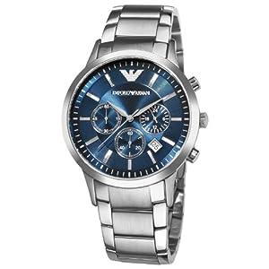 Emporio Armani AR2448 - Reloj cronógrafo de cuarzo para hombre, correa de acero inoxidable color plateado (cronómetro)