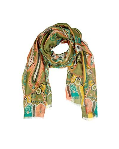 Saachi Women's Patterned Scarf, Olive/Multi