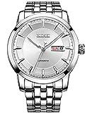 (バオショ)BUREI 腕時計 メンズ 日付曜日表示 5気圧防水 スタンダード男性用 ステンレススチール腕時計 機械式ウオッチ