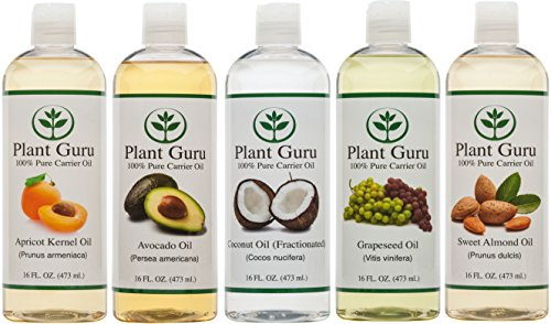 100% Pure Carrier Oil Variety 5 Pack--16 Ounce Bottles--Apricot Kernel Oil, Fractionated Coconut Oil, Grapeseed Oil, Avocado Oil And Sweet Almond Oil