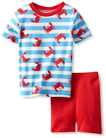New Jammies Little Boys' Organic Pajama Short Set Crabs N'Stripes, Blue/White Stripe, 5