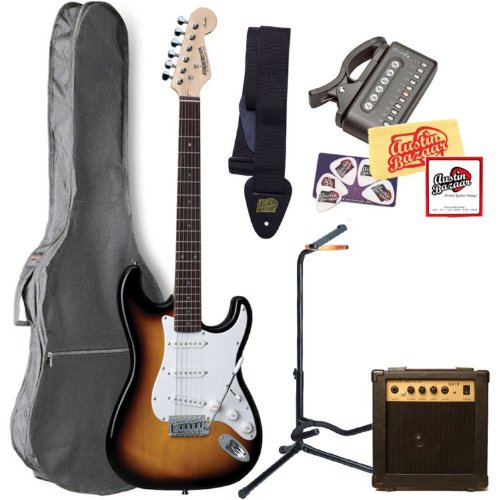 Fender Starcaster Strat Electric Guitar Bundle with 10-Watt Amp, Gig Bag, Guitar Stand, Strings, Tuner, Strap, Picks, and Polishing Cloth - 3-Tone Sunburst