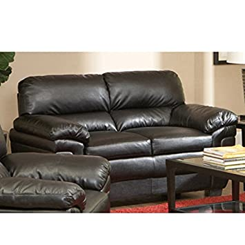 Loveseat with Split Back in Dark Brown Leather-Like Fabric