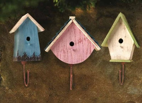 Country home decor bird house hooks country cottage wall for Bird home decor