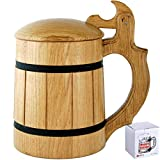 Wooden Beer Mug Lid Men. Craft IPA Beer Drinking Cup. Pint Wood Stein. Viking Ale Mead Dad Tankard Handle. Funny Fathers Day Tumbler, Birthday Anniversary Gifts. Cute Man Cave Decor, Party Accessories (Color: 20 oz with Lid Beige, Tamaño: 20)