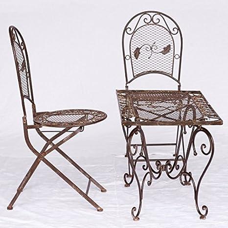 Gartenmoebel Klappstuhle Tisch Metall Gartenset 2 Stuhle 1 Couchtisch braun