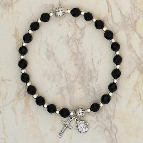 Italian Glass Stretch Rosary Bracelet with Crucifix & Miraculous Medal Black 6mm