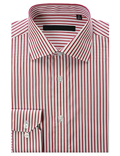 MONDAYSUIT Mens 100% Cotton Non-Iron Striped Regular Fit Dress Shirts 249-4F-RED