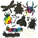 Lot de 12 Décorations à Gratter Aimantées - Motif Insecte - Idéal comme cadeau de pochette surprise