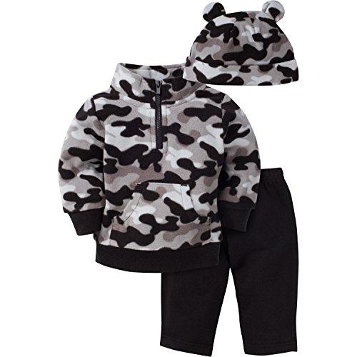 Gerber Boys' 3 Piece Micro Fleece Top Cap and Pant Set, Black Camo, 3-6 Months