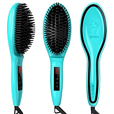 Gisala Metal Ceramic Heater Hair Straightening Brush,Auto Lock,Anti Scald,Zero Damage,Adjustable Temperature,Instant Heat Up Professional Hair Straightener(Cyan and Golden)