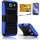 LF 4 in 1 Bundle - Hybrid Armor Stand Case with Holster and Locking Belt Clip, Stylus Pen, Screen Protector & Wiper Compatible with (Straight Talk, Tracfone, Net 10) Samsung Galaxy Ace Style S765C (Holster Blue / Black)