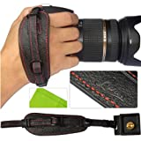 First2savvv Lynda Professional Wrist Grip black genuine leather hand Strap for Canon EOS 7D with LENS Cleaning Cloth