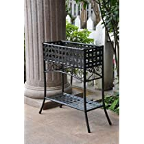 Iron Rectangular Plant Stand in Black Finish