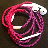 Wrapped Earbuds Tangle Free w/mic BRIGHT FUCHSIA & PURPLE Hand Headphones Made for Apple iPhone 5, 5c, 5s, iPad, iPod, EarPods, Headphones