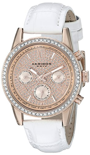 Akribos XXIV Women's AK871WTR Crystal Accented Two Time Zone Pave Dial Rose Tone and White Leather Strap Watch