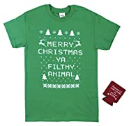 Merry Christmas Ya Filthy Animal T Shirt with Free Koozie