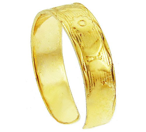 Yellow Gold Butterfly and Flower Toe Ring (14K Gold)