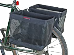 The Omaha grocery panniers are perfect for a quick trip to the market. They secure to the rack of your bike with a three-point mounting system. Each pannier will accommodate one full sized grocery bag, and when done folds flat for storage. Dimensions...